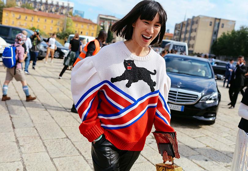 Street Style: уличный стиль на Неделе моды в Милане. Модный журналист Ева Чен
