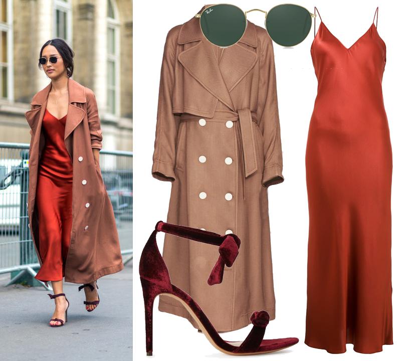 Street Style: уличный стиль трендсеттеров. Повторяем яркие образы с Paris Fashion Week. Шелковое платье-камисоль Protagonist, пальто Camilla and Marc, босоножки Alexandre Birman, солнцезащитные очки Ray-Ban
