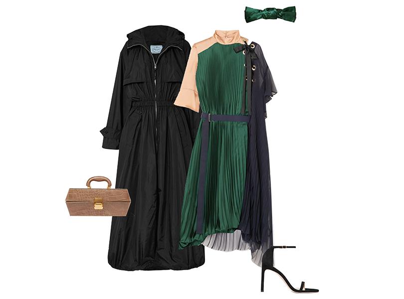 Плаш, Prada; платье, Sacai; сумка, Staud; ободок, Jennifer Behr, босоножки, Stuart Weitzman