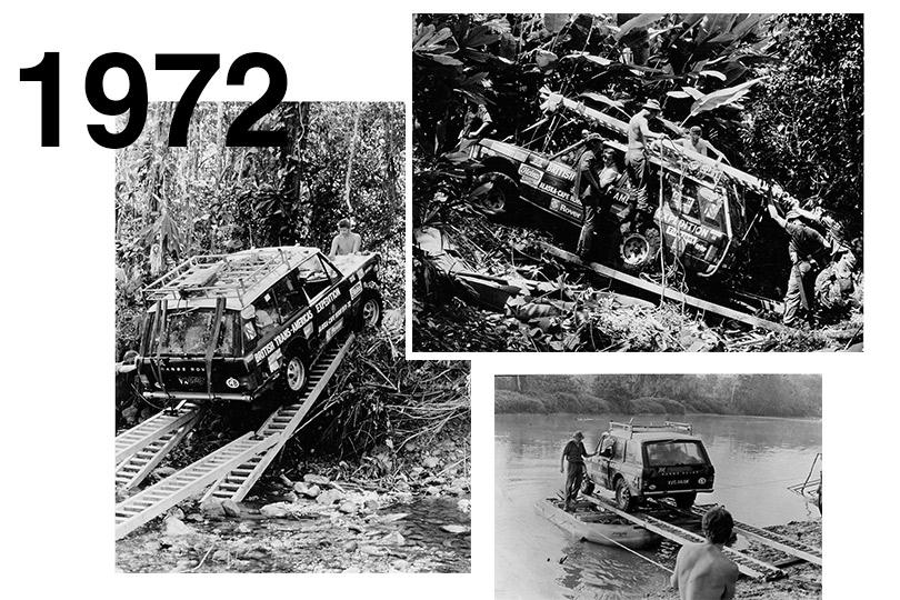 1972 Range Rover пересекает Дарьенский пробел входе 18 000-мильной Транс-Американской экспедиции: группа военнослужащих британской армии под командованием майора Джона Блэшфорда-Снелла надвух автомобилях преодолела один изсамых сложных автомобильных участков вмире сгустыми лесами иопасными болотами, делающими почти невозможным наземное сообщение между Центральной иЮжной Америкой.