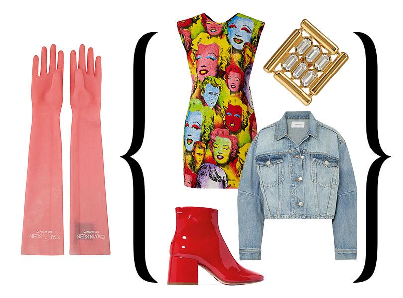 Перчатки изрезины, Calvin Klein 205W39NYC; платье спринтом встиле поп-арт, Versace; ботильоны, MM6 Maison Margiela; куртка изденима, Current/ Elliott; моносерьга, Balenciaga