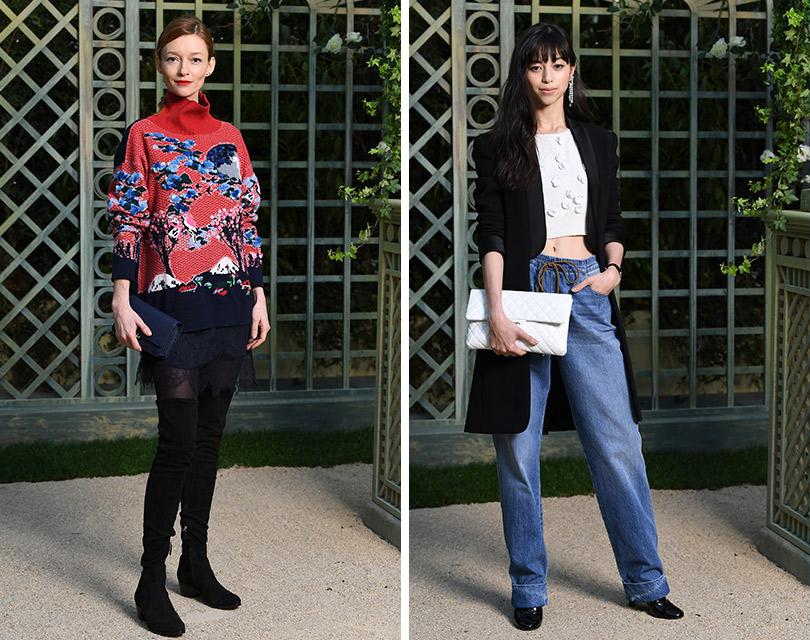 Гости кутюрного показа Chanel вGrand Palais. Одри Марней. Аями Накадзё