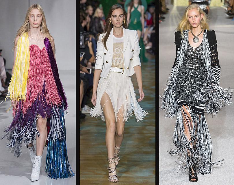 Бахрома ввесенних коллекциях Calvin Klein, Elie Saab, Balmain