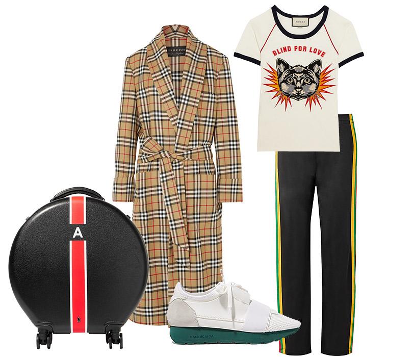 Брюки, Acne; футболка, Gucci; пальто, Burberry; сникерсы, Balenciaga; багаж, Ookonn