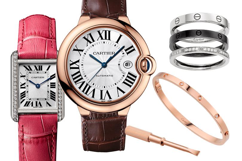 Cartier: часы Tank Louis Cartier, часы Ballon Bleu deCartier, браслет икольцо Love