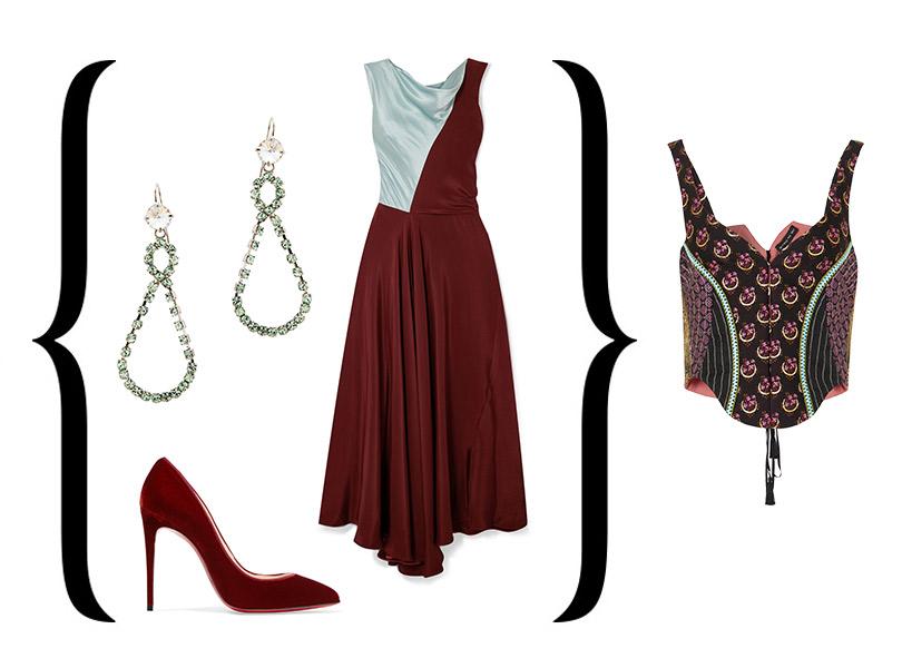 Корсет-жилет от Etro + Платье, Roksanda; туфли избархата, Christian Louboutin; серьги, Miu Miu