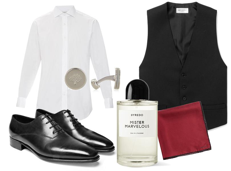 Men in Style: этой осенью делаем ставку на английский стиль. Жилет Saint Laurent, белая рубашка Gieves &Hawkes, ботинки John Lobb, запонки Mulberry, шелковый нагрудный платок Lanvin, одеколон Byredo Mister Marvelous.