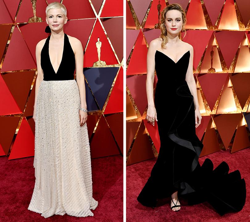Oscars Special 2017: образы звезд на красной ковровой дорожке церемонии «Оскар». Мишель Уильямс в Louis Vuitton. Бри Ларсон в Oscar de la Renta