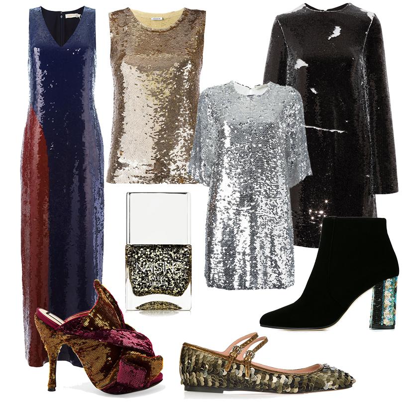Новый Год. Дресс-код: добавим блеска! Одежда иаксессуары спайетками. Двухцветное макси-платье Tory Burch, топ P.A.R.O.S.H, лак для ногтей Nails Inc Alexa Sequins, мюли N21, расшитое серебряными пайетками мини-платье Amen, черное платье MSGM, декорированные крупными пайетками балетки Rochas, ботильоны сконтрастным каблуком Bams