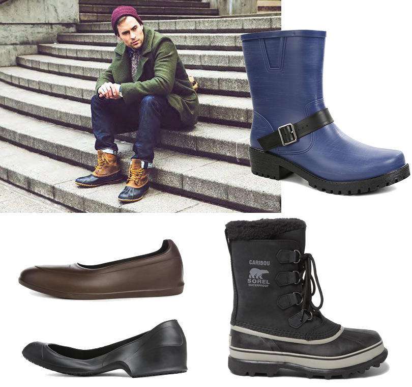 Men inStyle: актуальная мужская обувь— что носить вусловиях погодных катаклизмов? Мужские галоши Swims иTingley (ЦУМ), резиновые сапоги Chiara Bellini (Rendez-Vous), непромокаемые сапоги Sorel (Mr.Porter)