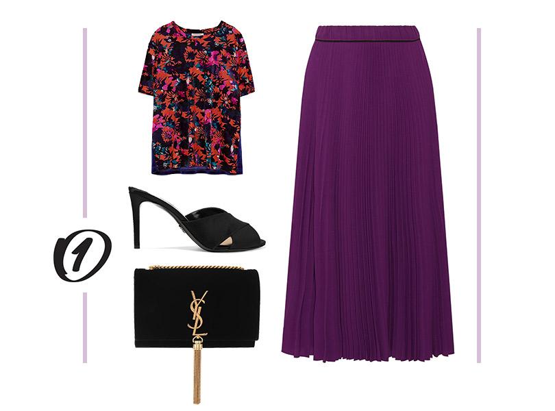 Юбка, Marc Jacobs; топ избархата, Zara; атласные мюли, Prada; сумка, Saint Laurent