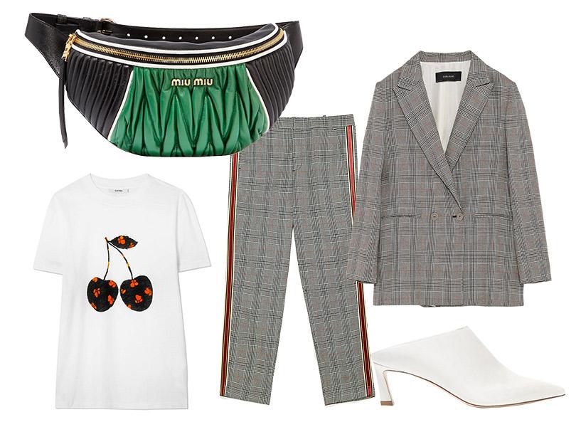 Поясная сумка, Miu Miu; костюм, Zara; топ, Ganni; мюли, Stuart Weitzman