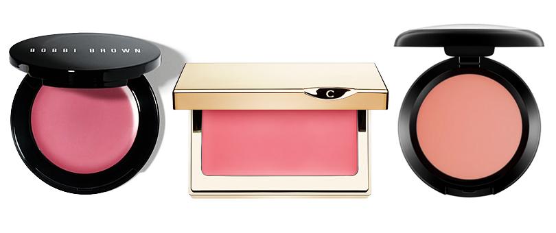 Bobbi Brown Pot Rouge в оттенке Pale Pink, MAC (кремовые румяна в оттенке Something Special) и Clarins Multi-Blush в оттенке Candy