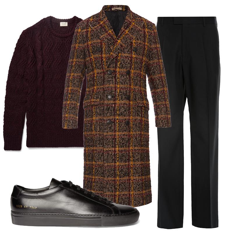 Men inStyle: утепляемся совкусом. Какую верхнюю одежду носить вноябре? Твидовое пальто Bottega Veneta, свитер Club Monaco, брюки Dries Van Noten, кожаные кеды Common Projects