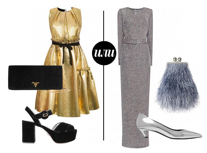 Платье, A.G.P.; босоножки иклатч, все— Prada или Платье, LNFamily; туфли, Balenciaga; клатч, Maison Esve