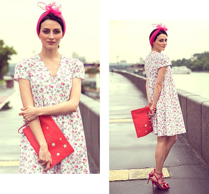 Style Notes сМариной Изиловой: как правильно носить цветочный принт? Платье, Loom; клатч, Longchamp, туфли, Aquazzura