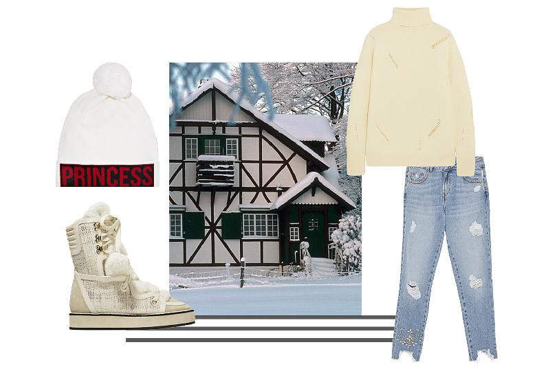 Джинсы, Zara; пуловер, Michael Michael Kors; сноубутсы, Nicholas Kirkwood; шапка, Dolce &Gabbana