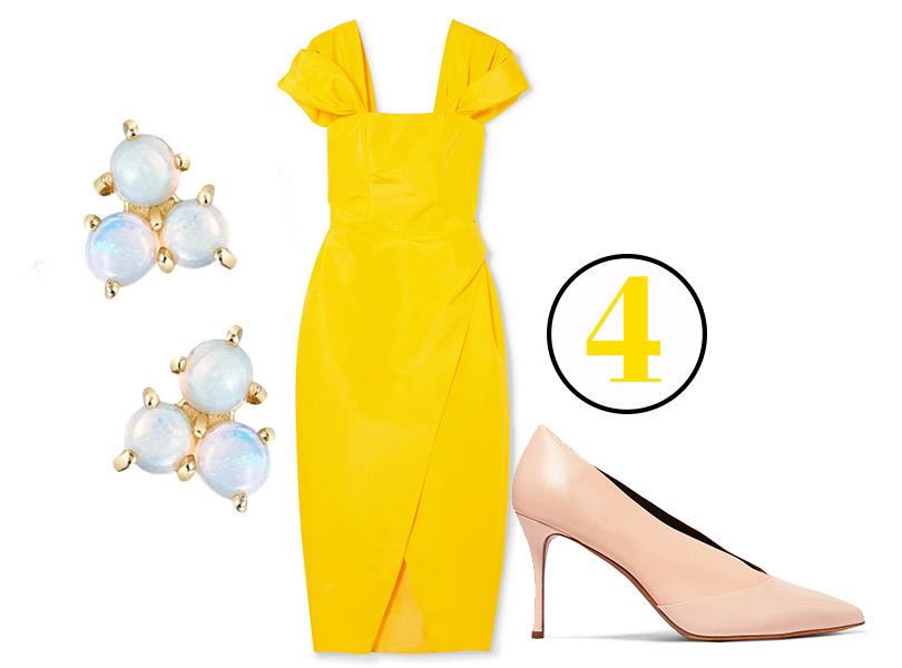 Платье, Carolina Herrera; туфли, Tabitha Simmons (Net-a-Porter); серьги сопалами, Moonka Studio