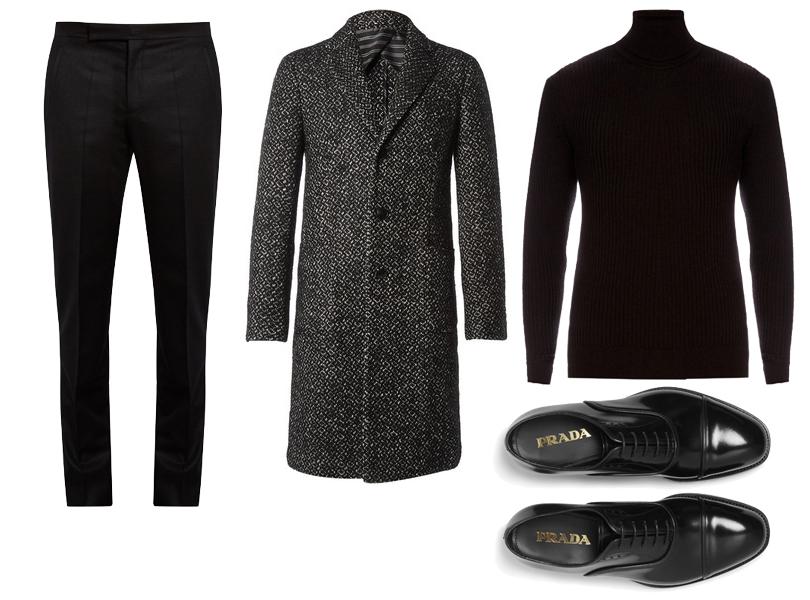 Men in Style: этой осенью делаем ставку на английский стиль. Водолазка изшелка ишерсти Jil Sander, брюки Maison Margiela, пальто Etro, ботинки Prada.