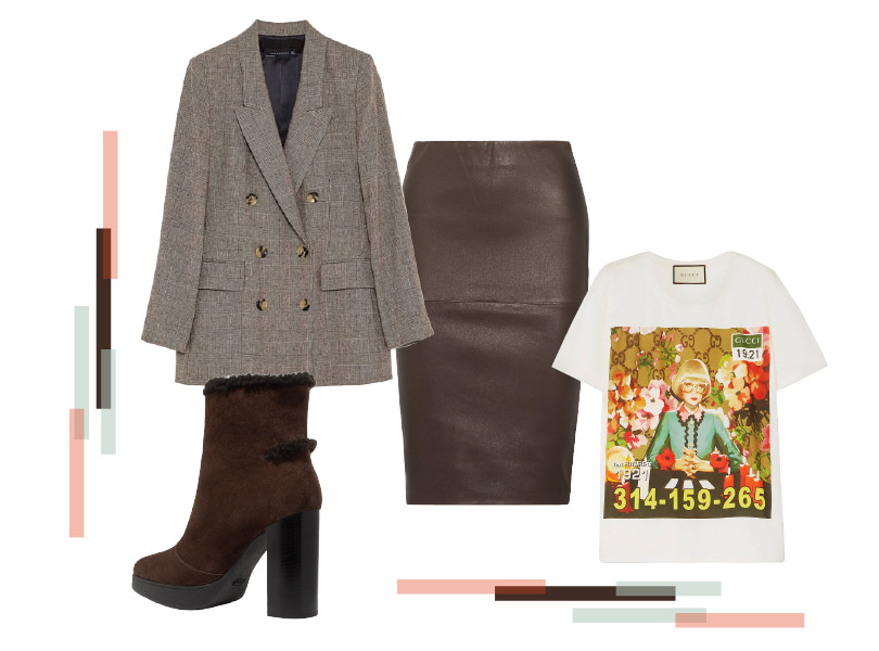 Юбка, ByMalene Birger; блейзер, Zara; футболка, Gucci; сапоги, Tod's