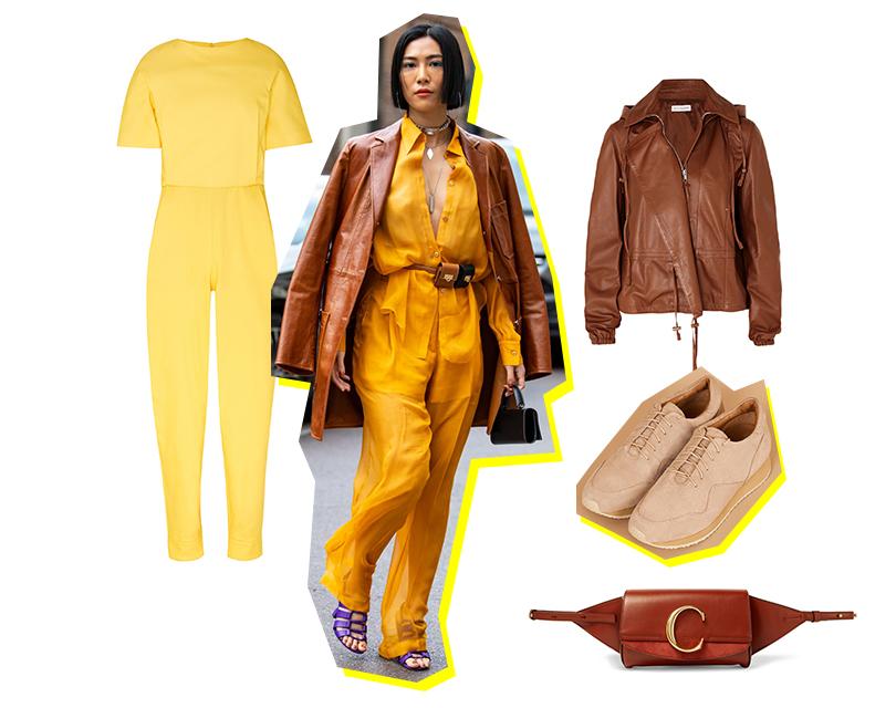 5 монохромных стритстайл-образов с Недели моды в Милане, которые вы будете носить уже этой весной. Комбинезон, Chapurin; сумка-пояс, Chloé; жакет, Altuzarra; кроссовки иззамши, 12Storeez