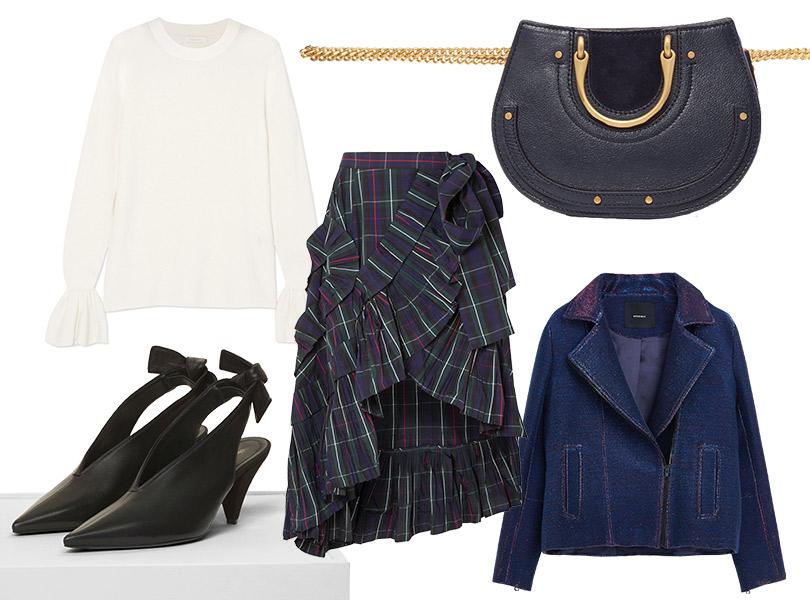 Поясная сумка, Chloé; юбка, J.Crew; пуловер, See byChloé; байкерская куртка, Uterqüe; туфли, Céline