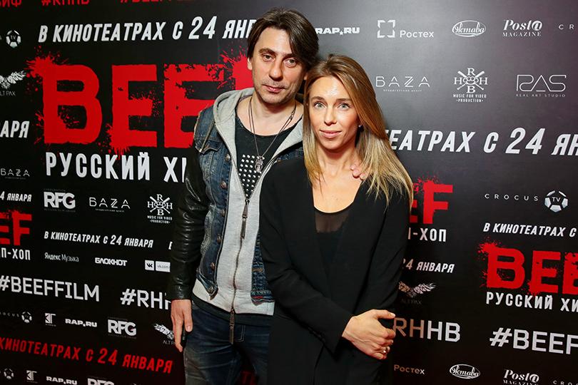 Премьера фильма «BEEF: Русский хип-хоп» в кинотеатре «Октябрь». Роман Емельянов с супругой Юлией