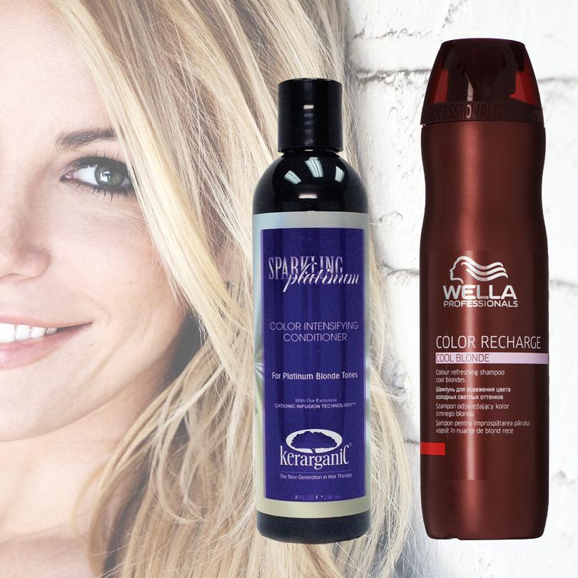 Hair & Style: с новым блондом! Как сохранить цвет волос без желтизны. Color Recharge Cool от Wella и оттеночный кондиционер «сверкающая платина» Sparkling Platinum от Kerarganic