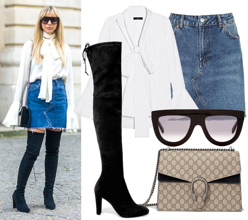 Street Style: уличный стиль трендсеттеров. Повторяем яркие образы с Paris Fashion Week. Джинсовая юбка Topshop, блузка Ellery, ботфорты Stuart Weitzman, сумка Gucci, солнцезащитные очки Céline