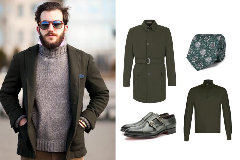 Наука цвета: как составить мужской гардероб, который будет работать навас. Тренч, Bottega Veneta (ЦУМ); галстук, Dolce &Gabbana; джемпер, Gran Sasso; ботинки-монки, Santoni