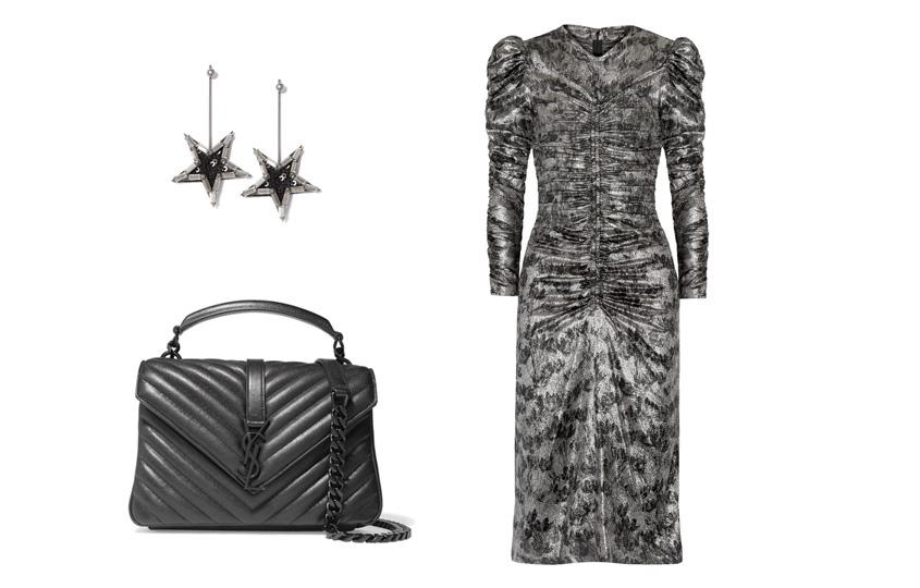 Платье, Isabel Marant; сумка, Saint Laurent; серьги, Herald Percy (Aizel)