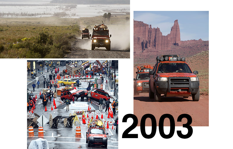 2003 16команд участвуют взаездах впервом соревновании G4Challenge: втом году состоялось четыре недельных этапа, которые прошли вНью-Йорке инаВосточном побережье Америки, вЮжной Африке, Западной Австралии инаДиком Западе.