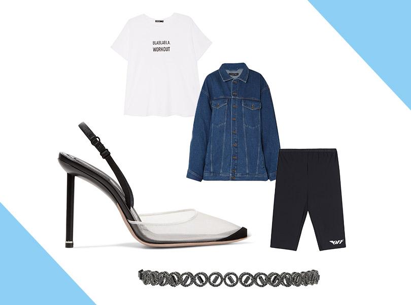 Шорты, Off-White («КМ20»); футболка, Manouk (Aizel); куртка, Y/ Project (Net-a-Porter); туфли, Alexander Wang; чокер, Lisa Smith