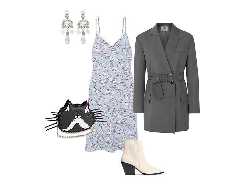 Жакет, Prada; платье, Markus Lupfer; обувь, Aeyde; сумка, Louis Vuitton; серьги, Oscar de la Renta