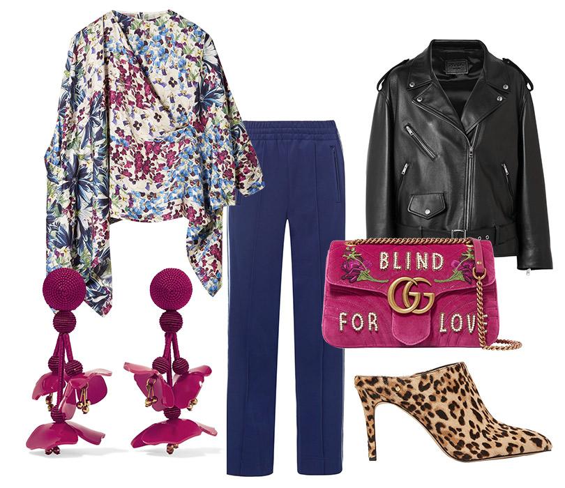 Брюки, Marc Jacobs; блуза, Biyan; кожаная куртка, Prada; клипсы, Oscar delaRenta; сумка, Gucci; мюли (сабо), Saint Laurent