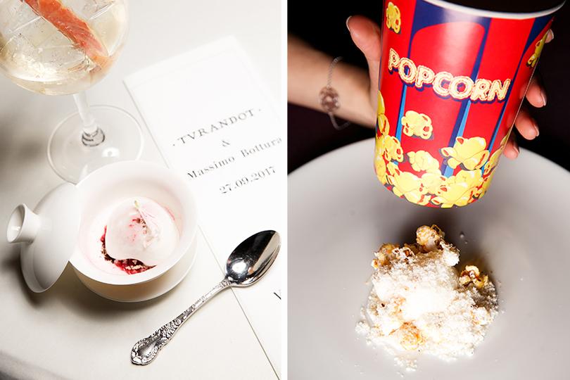 Секретный ужин Массимо Боттуры вресторане «Турандот». Десерты: томаты черри всех форм иразмеров ипопкорн