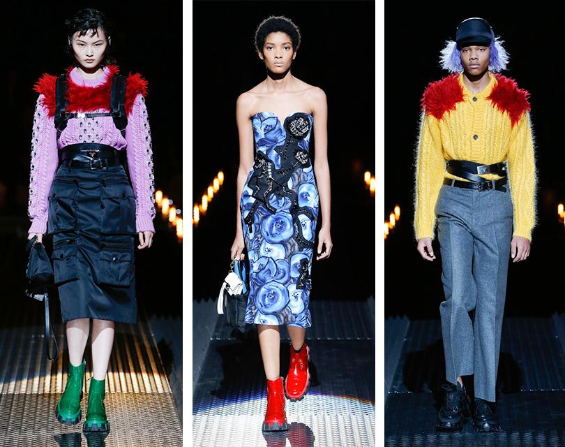 Парные сумки, шапки-ушанки и лаконичный футуризм на показе Prada Men в Милане