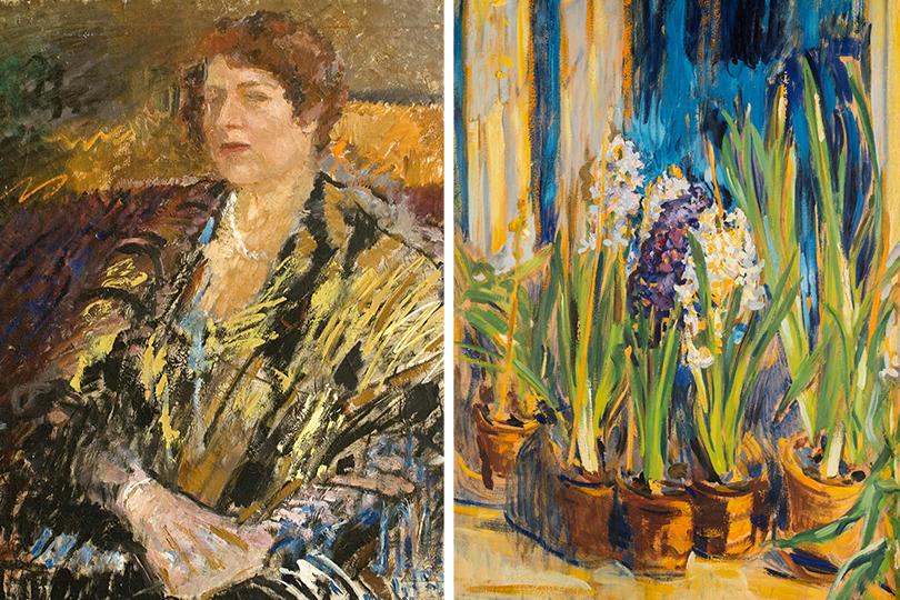 Михаил Шемякин: Портрет Н.В. Неждановой. 1934; Гиацинты вечером. 1912