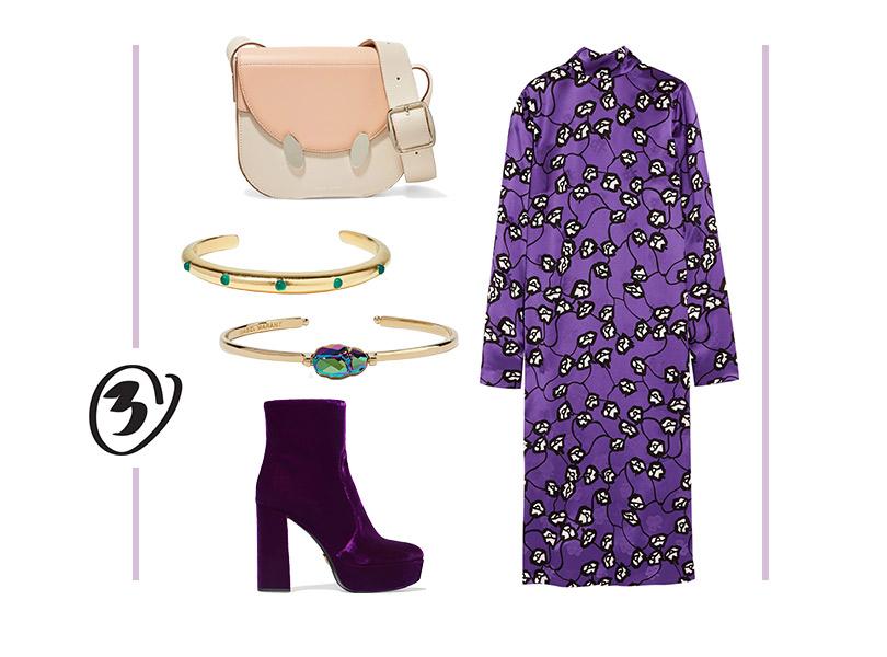 Платье, Marni; ботильоны, Prada; сумка, Danse Lente; браслеты, Isabel Marant иElizabeth &James