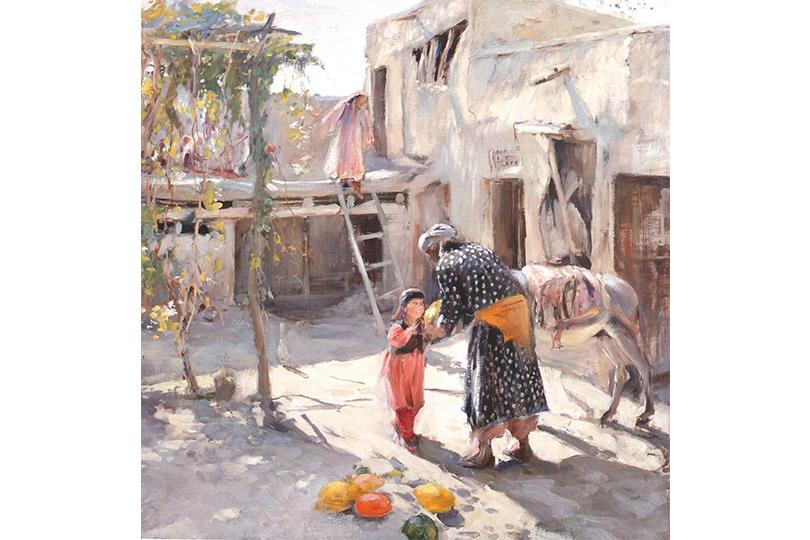 П.П. Беньков. Дворик. Возвращение с базара. 1947