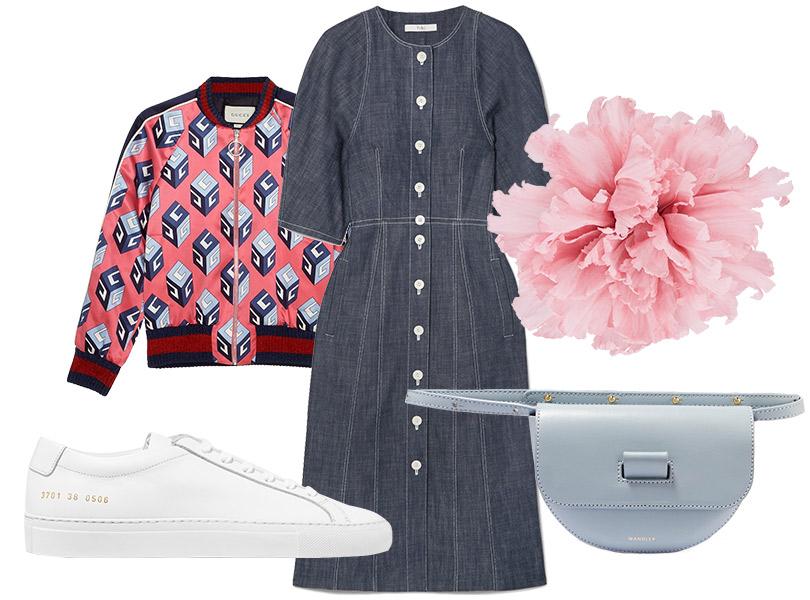 Поясная сумка, Wandler; платье изденима, Tibi; бомбер иброшь, все— Gucci; кеды, Common Projects