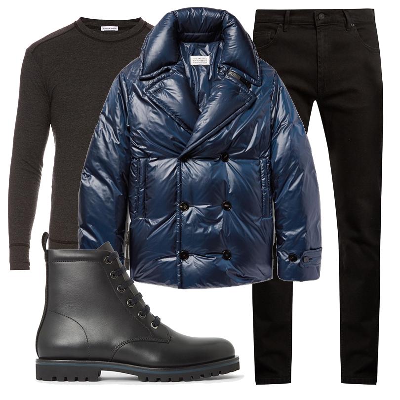 Men inStyle: утепляемся совкусом. Какую верхнюю одежду носить вноябре? Пуховик Maison Margiela, свитшот Tomas Maier, джинсы Kenzo, ботинки COS