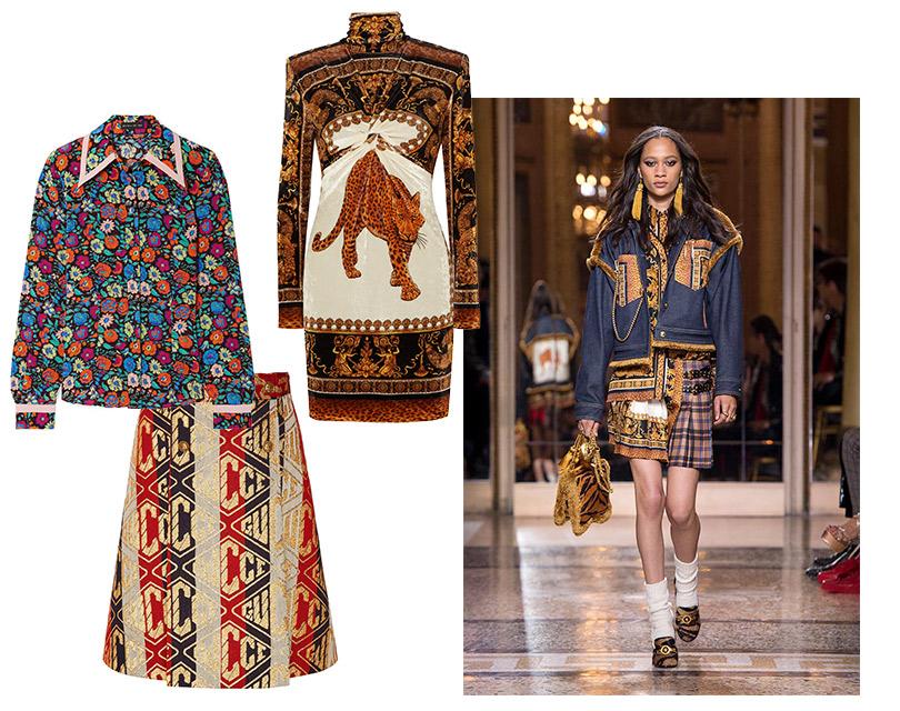 Платье, Versace; юбка, Gucci; блузка, Etro