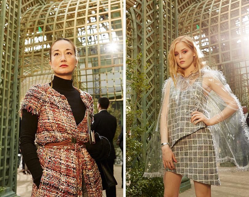Гости кутюрного показа Chanel вGrand Palais. Харуми Клоссовска деРола. Элли Бамбер