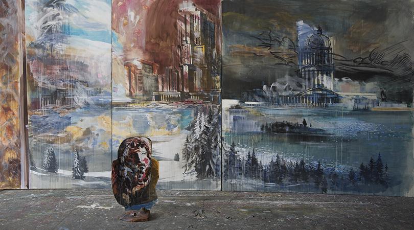 Валерий Кошляков. Фрагмент инсталляции «Элизиум». 2016, холст, темпера, дерево.