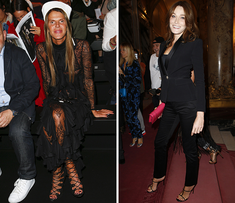 Style Notes: «модная армия» Оливье Рустена на показе Balmain. Анна Делло Руссо. Карла Бруни-Саркози