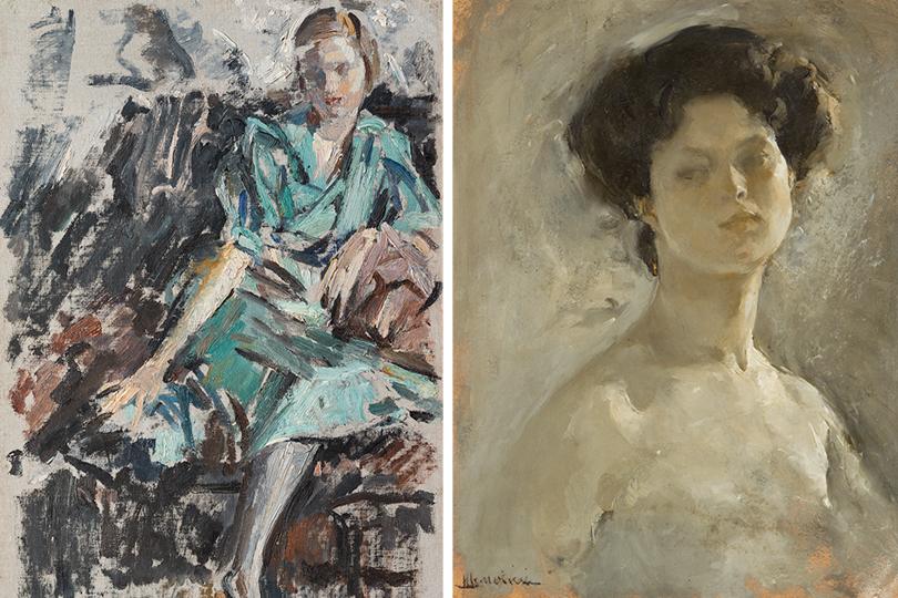 Михаил Шемякин: Катя в зеленом платье. 1937; Голова натурщицы. 1904