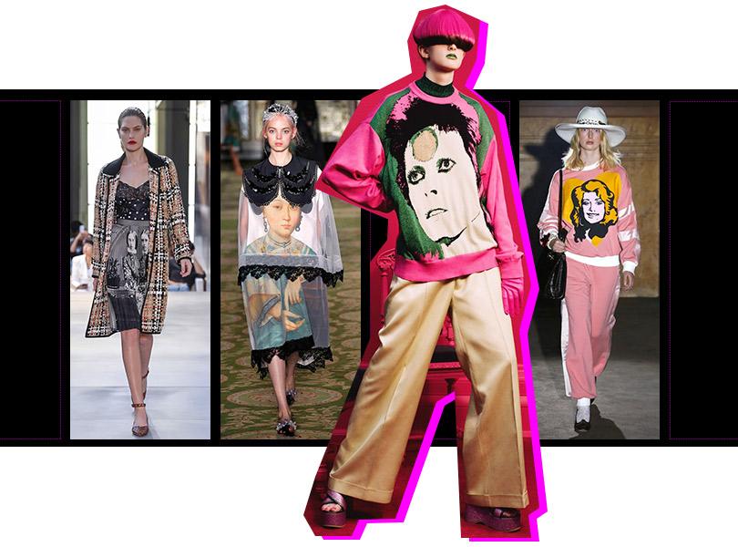 «Лица» напринтах ивышивках: Burberry, Simone Rocha, Undercover, Gucci