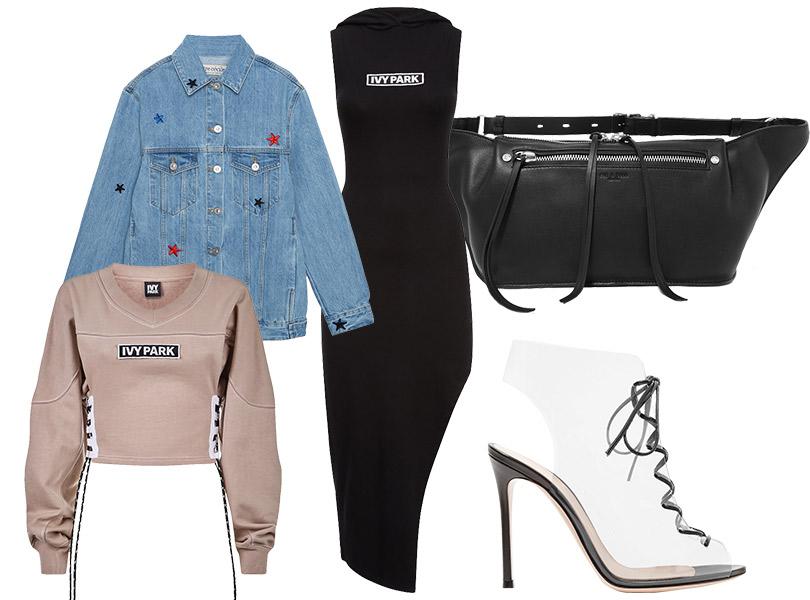 Поясная сумка, Rag &Bone; платье итолстовка, все— Ivy Park; джинсовая куртка, Être Cécile; ботильоны, Gianvito Rossi