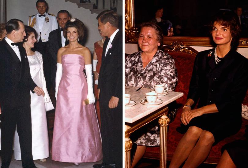 Style Notes: Натали Портман в роли fashion-иконы Джеки Кеннеди. Эволюция стиля Жаклин. Вплатье Dior, 1962г. CНиной Хрущевой. Вена, 1961г.